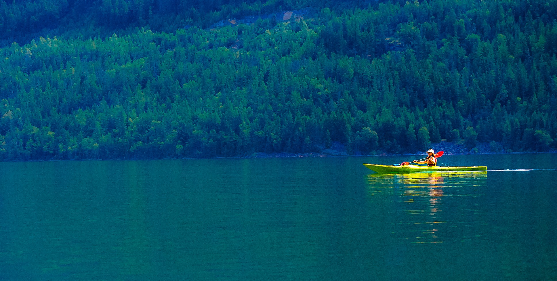 Paddling on Slocan Lake